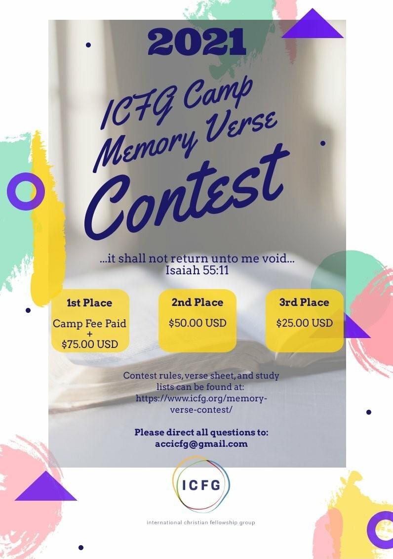 2021 ICFG Camp Memory Verse Program Poster